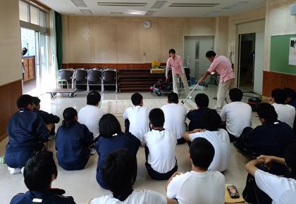 和田山特別支援学校での授業。